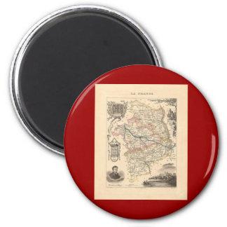 1858 mapa del departamento de Cher, Francia Imán Redondo 5 Cm