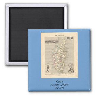 1858 mapa del departamento de Corse, Francia Imán Cuadrado