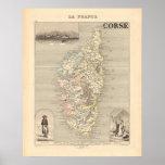 1858 mapa del departamento de Corse, Francia Posters