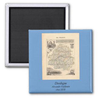 1858 mapa del departamento de Dordoña, Francia Imán Cuadrado