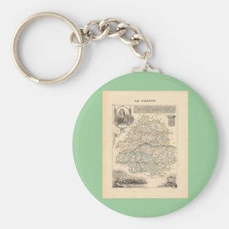 1858 mapa del departamento de Dordoña, Francia Llavero Redondo Tipo Pin
