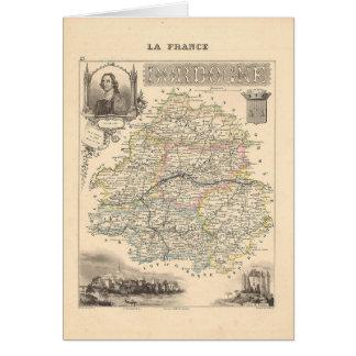 1858 mapa del departamento de Dordoña, Francia Tarjeta De Felicitación
