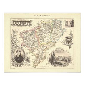 1858 mapa del departamento de Doubs, Francia Comunicado