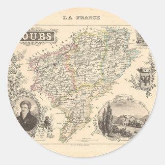 1858 mapa del departamento de Doubs Francia Etiquetas Redondas