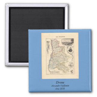 1858 mapa del departamento de Drome, Francia Imán Cuadrado