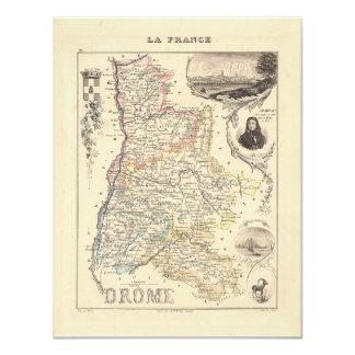 1858 mapa del departamento de Drome, Francia Comunicado Personalizado