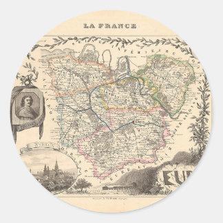1858 mapa del departamento de Eure Francia Etiquetas
