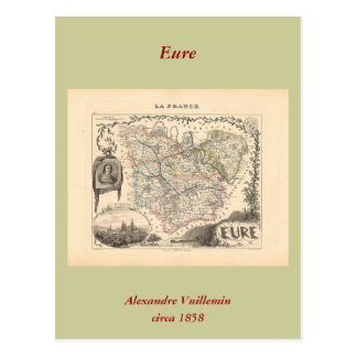 1858 mapa del departamento de Eure, Francia Tarjetas Postales