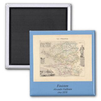 1858 mapa del departamento de Finistere, Francia Imán Cuadrado