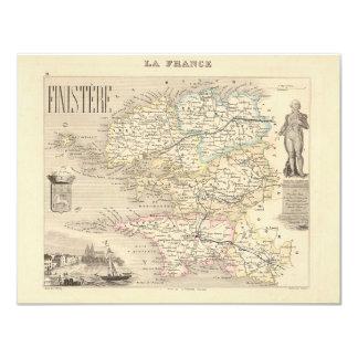 1858 mapa del departamento de Finistere, Francia Comunicados