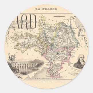 1858 mapa del departamento de Gard Francia Pegatinas