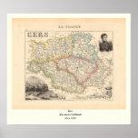 1858 mapa del departamento de Gers, Francia Impresiones