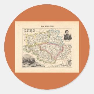 1858 mapa del departamento de Gers Francia Pegatinas