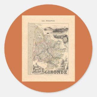 1858 mapa del departamento de Gironda Francia Etiquetas