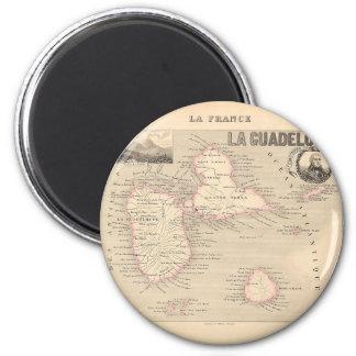 1858 mapa del departamento de Guadalupe, Francia Imán Redondo 5 Cm