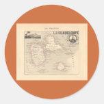 1858 mapa del departamento de Guadalupe, Francia Pegatinas Redondas