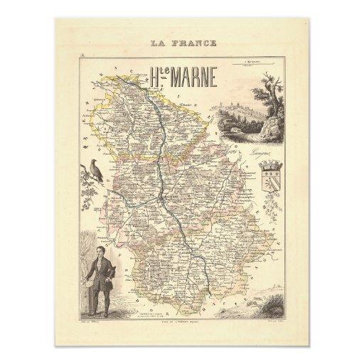 """1858 mapa del departamento de Haute-Marne, Francia Invitación 4.25"""" X 5.5"""""""