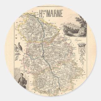 1858 mapa del departamento de Haute-Marne, Francia Pegatina Redonda