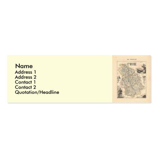 1858 mapa del departamento de Haute-Marne, Francia Tarjetas De Visita Mini