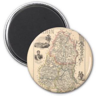 1858 mapa del departamento de Haute Rhin, Francia Imán Redondo 5 Cm