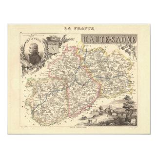 1858 mapa del departamento de Haute Saone, Francia Invitaciones Personalizada