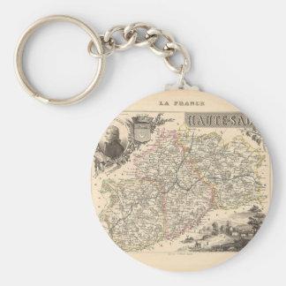 1858 mapa del departamento de Haute Saone, Francia Llavero Redondo Tipo Pin