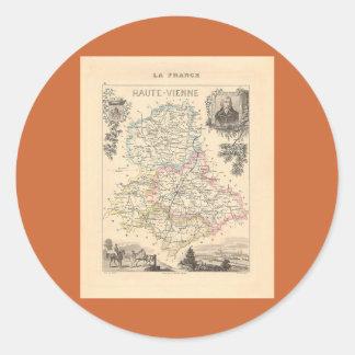 1858 mapa del departamento de Haute Vienne, Pegatina Redonda