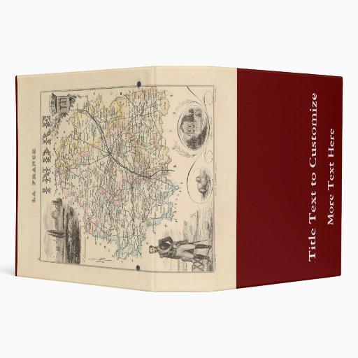 1858 mapa del departamento de Indre, Francia