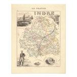1858 mapa del departamento de Indre, Francia Invitacion Personalizada