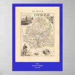 1858 mapa del departamento de Indre, Francia Posters