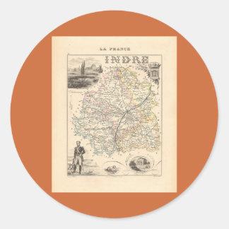 1858 mapa del departamento de Indre Francia Etiquetas Redondas