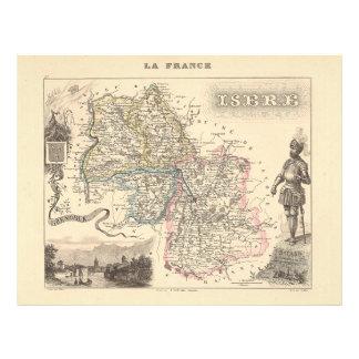 1858 mapa del departamento de Isere, Francia Tarjeton