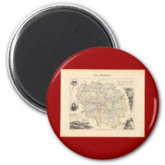 1858 mapa del departamento de la Creuse, Francia Imán Redondo 5 Cm