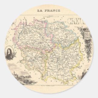 1858 mapa del departamento de la Creuse Francia Etiqueta Redonda