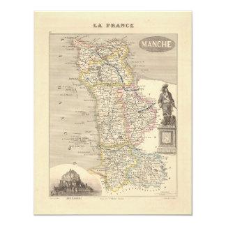 1858 mapa del departamento de la Mancha, Francia Invitacion Personalizada