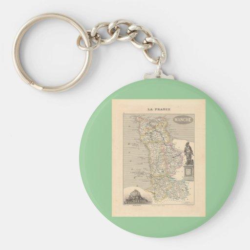 1858 mapa del departamento de la Mancha, Francia Llavero
