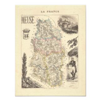 1858 mapa del departamento de la Mosa, Francia Invitaciones Personalizada