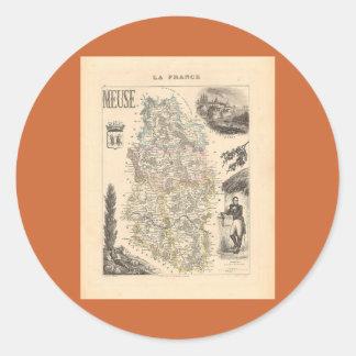 1858 mapa del departamento de la Mosa Francia Pegatinas Redondas