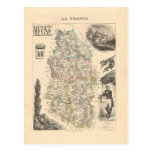 1858 mapa del departamento de la Mosa, Francia Postal