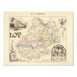 1858 mapa del departamento de la porción, Francia Invitación 10,8 X 13,9 Cm