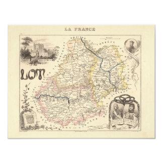 1858 mapa del departamento de la porción, Francia Invitación Personalizada