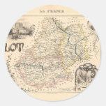 1858 mapa del departamento de la porción, Francia Pegatina Redonda