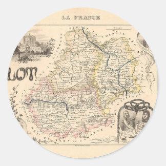1858 mapa del departamento de la porción Francia Pegatinas Redondas