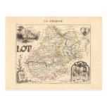 1858 mapa del departamento de la porción, Francia Postal