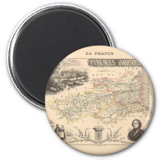 1858 mapa del departamento de los Pirineos Orienta Imán Redondo 5 Cm
