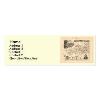 1858 mapa del departamento de los Pirineos Tarjetas De Visita Mini