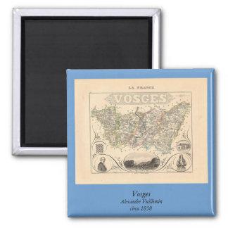 1858 mapa del departamento de los Vosgos, Francia Imán Cuadrado