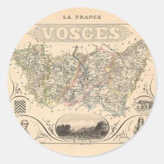 1858 mapa del departamento de los Vosgos Francia Pegatinas