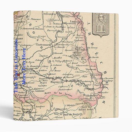 1858 mapa del departamento de Lozere, Francia