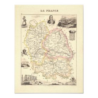 1858 mapa del departamento de Lozere, Francia Invitaciones Personales